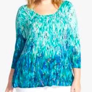 Nic+Zoe  Size XS Super Soft Blue/Green Top